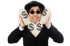 Young employee holding money bags isolated on Royalty Free Stock Photos