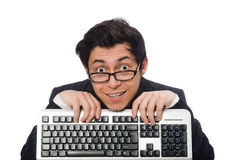 Young employee with keyboard isolated on white Royalty Free Stock Images