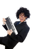 Young employee with keyboard isolated on white Royalty Free Stock Photography