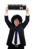 Young employee with keyboard isolated on white Stock Photos