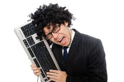 Young employee with keyboard isolated on white Stock Photo