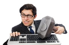 Young employee with keyboard isolated on the white Royalty Free Stock Photos