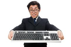 Young employee with keyboard isolated on the white Stock Image