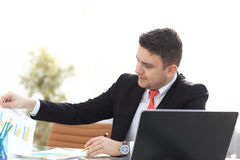 Young employee looking at computer monitor during working day. In office Stock Image
