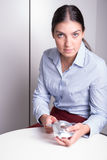 Young employee works at the quality control Stock Photo