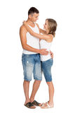 Young enamored couple in breeches Stock Photo