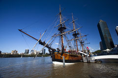 Young Endeavour at port wide angle. Young Endeavour docked in Brisbane city at near the Riverside Centre Stock Photo