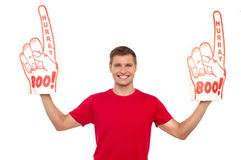 Young energetic fan showing his support Stock Image