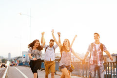 Young energetic group of people having fun Stock Image