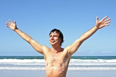 Young energetic man enjoying freedom Stock Photos