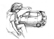Young energitic people with car drawing Royalty Free Stock Images
