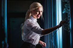 Young engineer businesswoman in server room Royalty Free Stock Photography