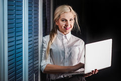 Young engineer businesswoman in server room Stock Photography