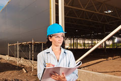 Young engineer at  construction site Royalty Free Stock Images