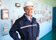 Young engineer at control room Stock Photos