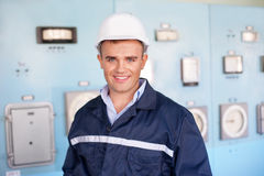 Young engineer in control room Royalty Free Stock Photos