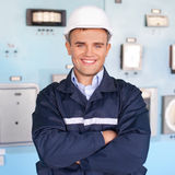 Young engineer at control room Stock Photography