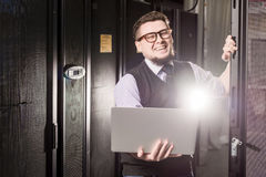 Young engineer in a datacenter Stock Photography