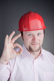 Young Engineer doing the ok sign Stock Images