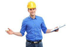 Young engineer gesturing Stock Images