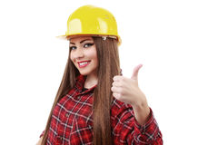 Young engineer with helmet showing ok sign Stock Photography
