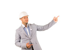 Young Engineer Looking at Cam Pointing Side Royalty Free Stock Image