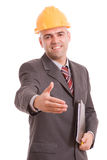 Young engineer offering handshake Royalty Free Stock Photo