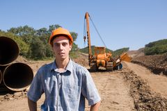 young engineer.oil pipeline Royalty Free Stock Photo