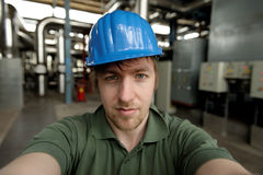 Young engineer in a power plant Royalty Free Stock Images