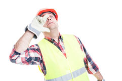Young engineer screaming out loud. And saying something  on white studio background Royalty Free Stock Images