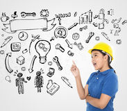 Young engineer with sketching idea stock image