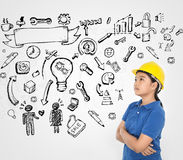 Young engineer with sketching idea royalty free stock image