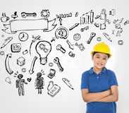 Young engineer with sketching idea Stock Photos
