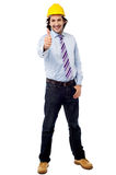 Young engineer with thumbs up Royalty Free Stock Photography
