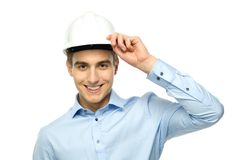 Young engineer wearing hardhat Stock Images