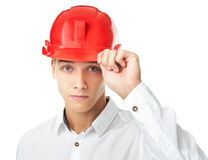 Young engineer wearing red helmet Royalty Free Stock Photo