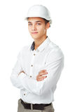 Young engineer wearing a white helmet Stock Photography