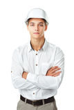 Young engineer wearing a white helmet Royalty Free Stock Photography