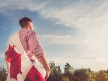 Free Young Engineer, White Hardhat And Canadian Flag Stock Images - 186965214