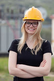 Young engineer with yellow helmet Royalty Free Stock Photo