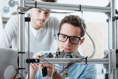 Young engineers 3D printing Stock Photo