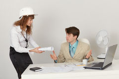 Young engineers are working in office Stock Image