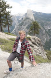Young english tourist in yosemite Royalty Free Stock Images