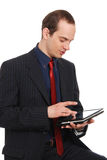 The young enterprising man with the laptop Stock Image