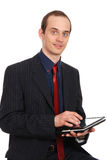 The young enterprising man with the laptop Royalty Free Stock Images
