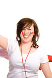 Young enthusiastic female, italian flags on cheeks Royalty Free Stock Photography