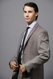 Young entrepreneur. Handsome young entrepreneur in gray suit Royalty Free Stock Images