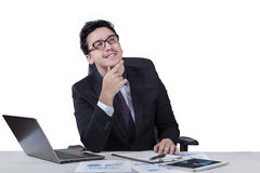 Young entrepreneur daydream at workplace Stock Images