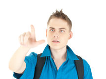 Young entrepreneur pointing at copyspace Stock Photo
