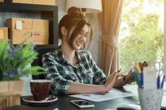 Young entrepreneur, teenager business owner work at home, alpha. Generation life style, online business conceptual stock photo